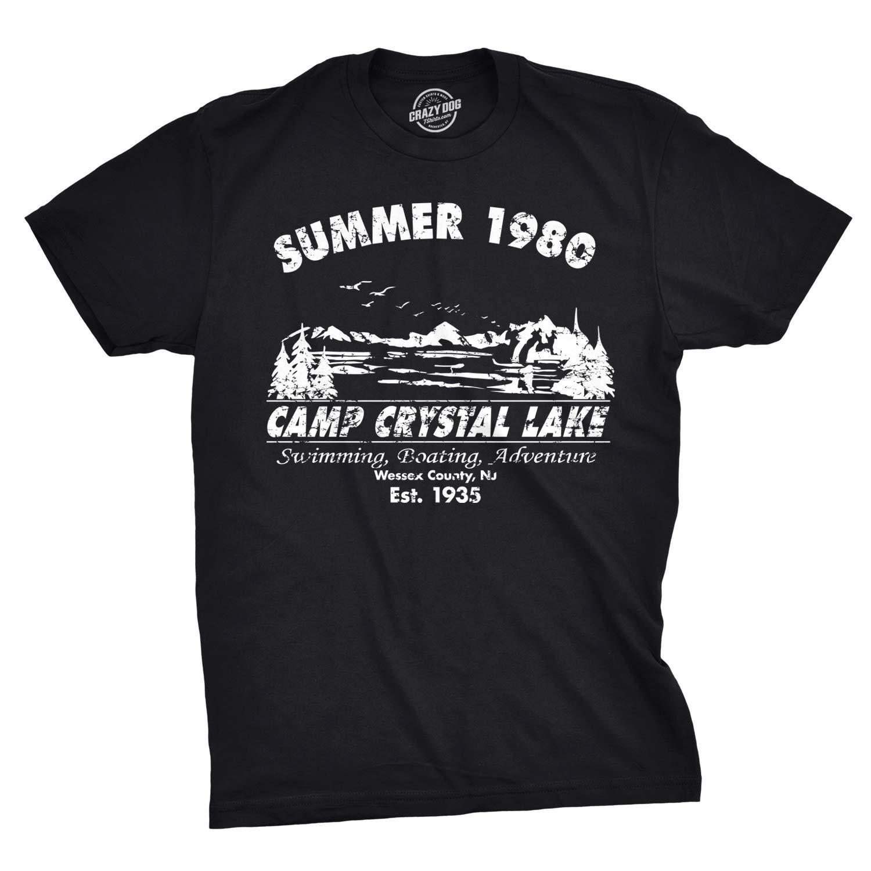 bab27c6dd5 Amazon.com: Mens Summer 1980 Mens Funny T Shirts Camping Shirt Vintage  Horror Novelty Tees: Clothing