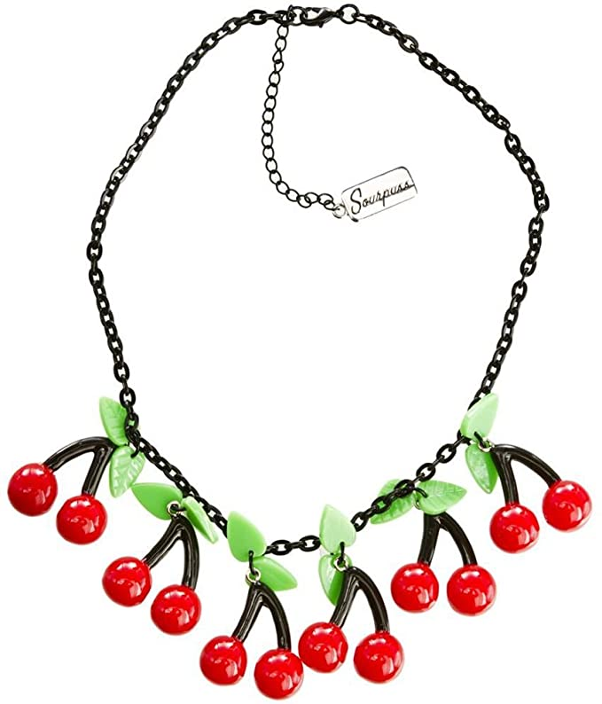 Vintage Style Jewelry, Retro Jewelry Bombshell Cherry Necklace from Sourpuss Clothing $16.99 AT vintagedancer.com