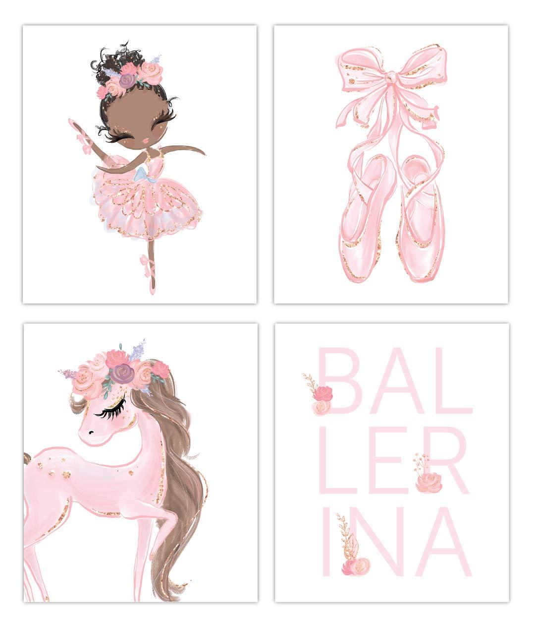 Designs by Maria Inc. Black Ballerina Prints Set of 4 (Unframed) Nursery Decor Art (8x10) (Option 1)