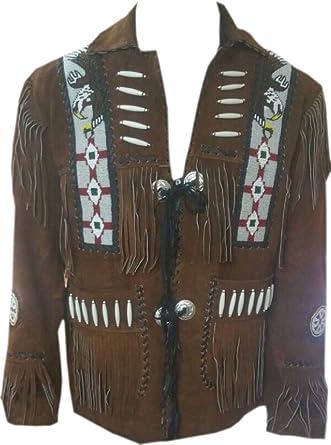 LEATHERAY Mens Fashion Western Genuine Cowboy Jacket Native American Wears Fringed /& Beaded Jacket Cow Leather Beige