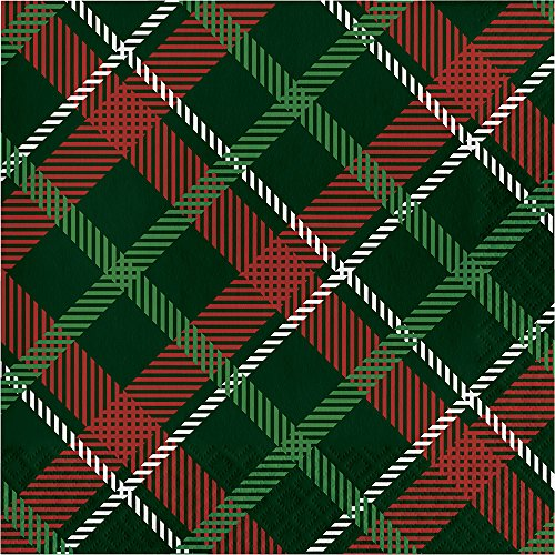 Creative Converting 16-Count Lunch Paper Napkins, Tartan Tidings