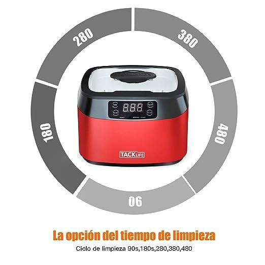 limpiador por ultrasonidos, Tacklife-MUC01- Limpiador ultrasúnico 1200ml, 40KHZ Super Capacidad con 5 programas de tiempo diferentes, es un profesional ...