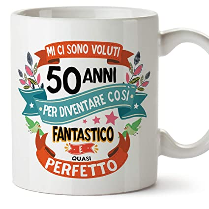Mugffins Tazza Compleanno 50 Anni Idee Regali Originali Et Divertenti Per Uomo E Donna Per Lui Per Lei Ceramica 350 Ml