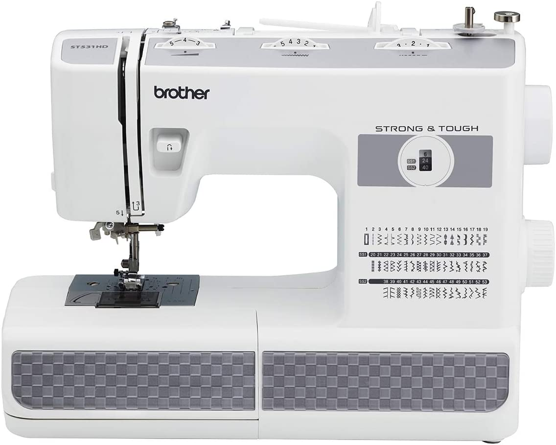 Brother Refurbished Strong and Tough 53 Stitch Sewing Machine with Finger Guard, White