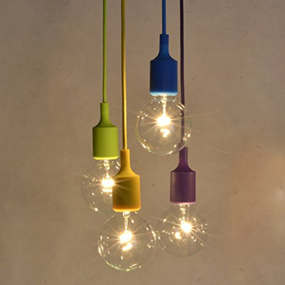 Injuicy modern edison bulb e27 weave silica gel pendant lights fixtures colorful rubber rainbow diy led ceiling pendant lamps for wedding childrens bedroom