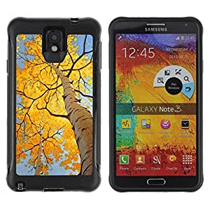 LASTONE PHONE CASE / Suave Silicona Caso Carcasa de Caucho Funda para Samsung Note 3 / Autumn Leaves Birch Yellow Sun