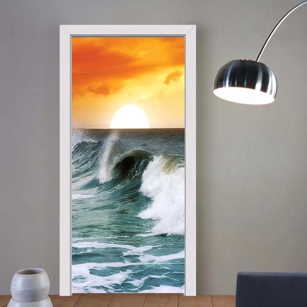 Gzhihine custom made 3d door stickers Ocean Sunset Ocean Waves Digital Print Modern Family Decor Fabric Home Surfer Leisure View Scenery Decor Creativity Fashionable Orange Yellow White Teal Fo
