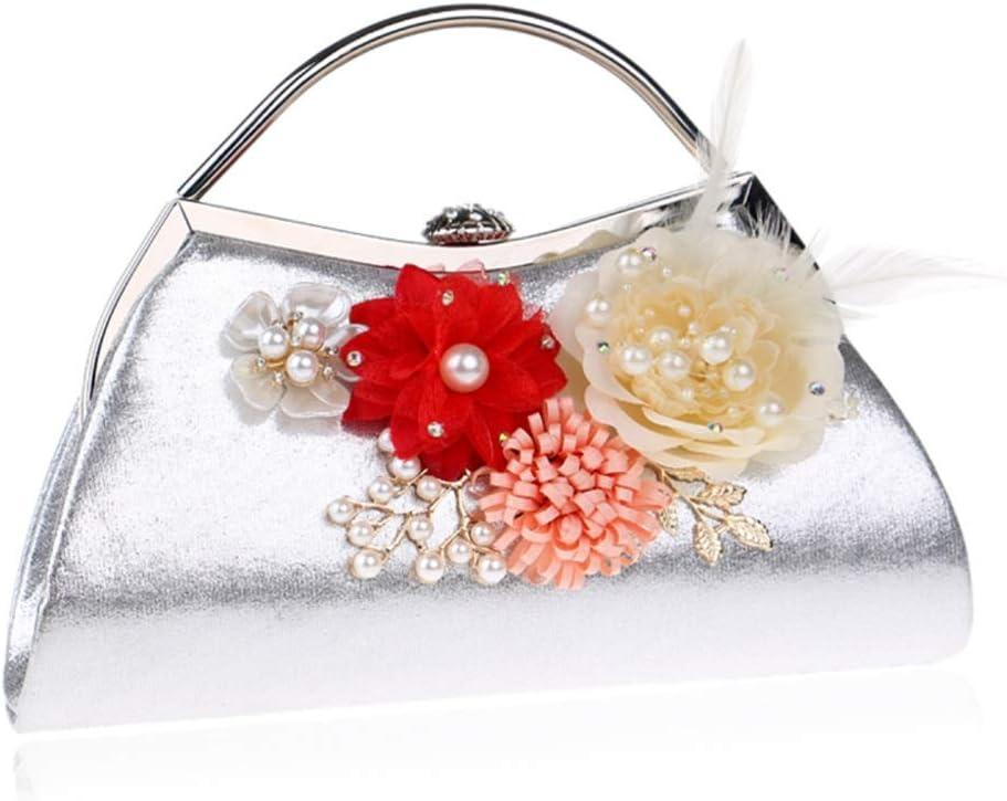 Techecho Bridal Clutch Purse Flower Handbag Female Fashion Single Shoulder Diagonal Bag Clutch Bag Evening Package Frosted Handbag Party Color : Silver