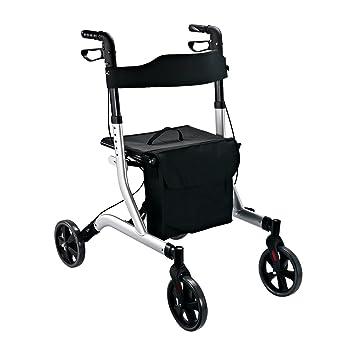 Homcom Andador, ligero, con 4 ruedas, para ayudar a la movilidad de discapacitados, plegable, con asiento y bolsas, marco de aluminio: Amazon.es: Salud y ...