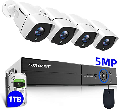 8Channel 5MP SMONET Wired Security Camera System,8CH DVR with 1TB HDD for 24 7 Recording,4X 5MP 2560TVL Indoor Outdoor Waterproof Surveillance Cameras,Motion Alerts,Night Vision,Quick Remote Access