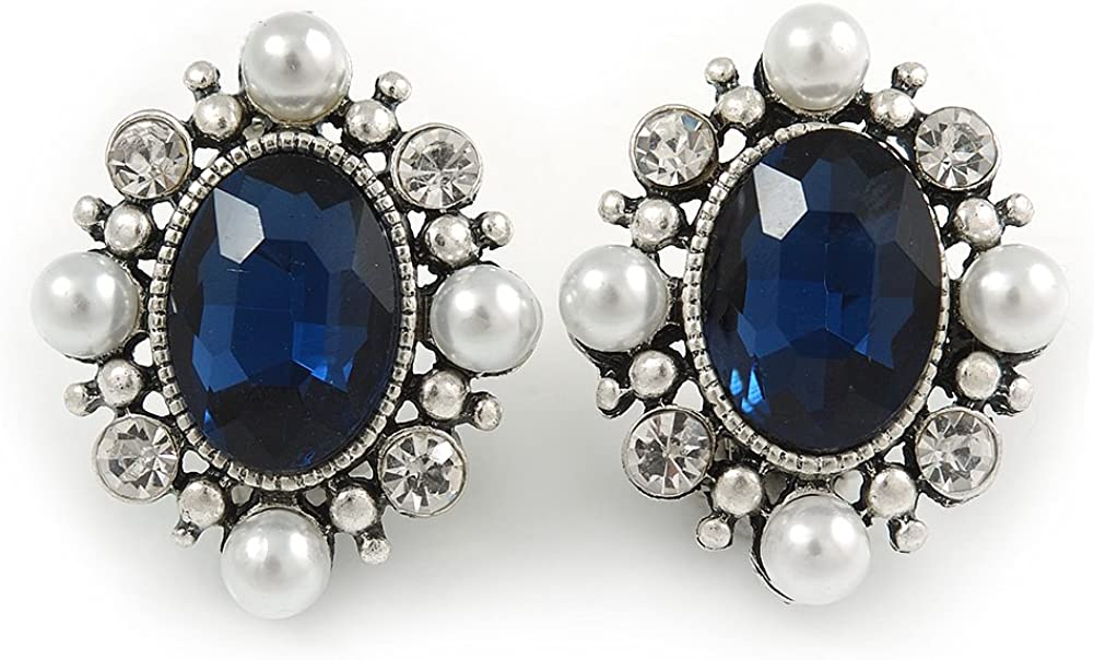 Pendientes ovalados de perlas de imitación color azul oscuro y cristal transparente, color blanco en tono plateado – 27 mm de alto