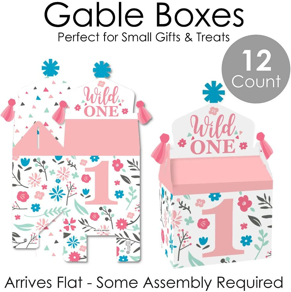 Set of 12 Treat Box Party Favors Boho Floral 1st Birthday Party Goodie Gable Boxes Big Dot of Happiness She/'s a Wild One