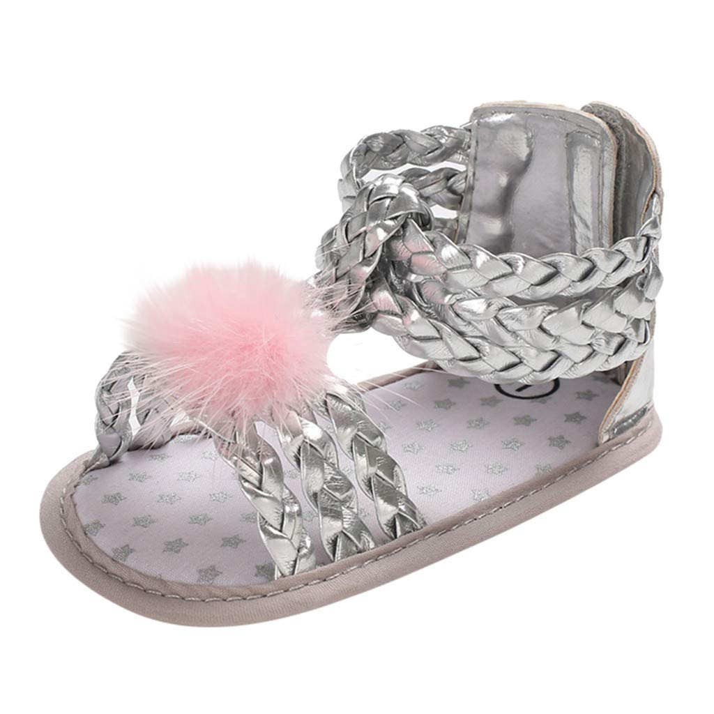 NUWFOR Infant Newborn Baby Girls Soft Sole Hair Ball Princess Shoes Sandals(Silver,12~18 Month)
