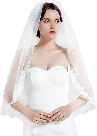 "32/"" to 35/"" Sheer White No Trim Elbow 2T Tier 2 Layer Wedding Veil Cut Edge Comb"