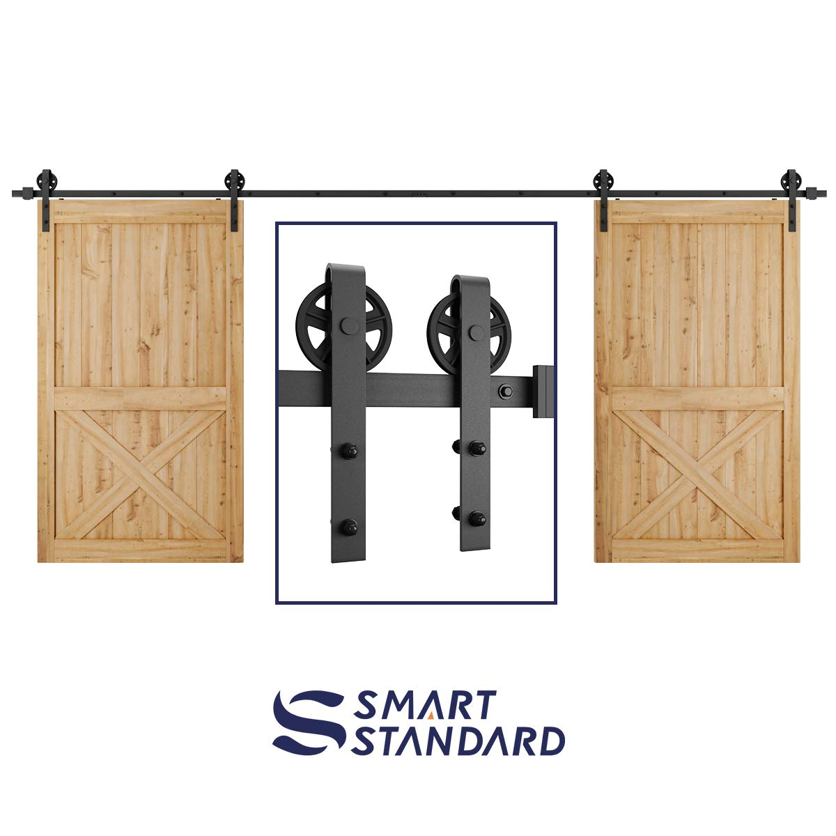 16ft Double Door Sliding Barn Door Hardware Kit - Smoothly and Quietly - Easy to Install - Includes Step-by-Step Installation Instruction -Fit 42''-48'' Wide Door Panel(Big Industrial Wheel Hanger)