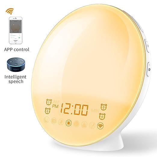 Smart Wake Up Luz con Alexa voz Cuatro Despertador & FM Radio & Función Snooze &