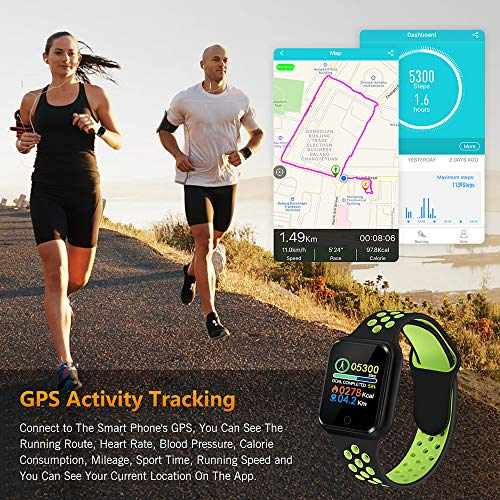 Fitness Tracker with Heart Rate Blood Pressure Monitor, Waterproof Sports Smart Watch, Bluebooth Smart Bracelet, Sleep Sports Data Monitor Activity Tracking Pedometer Watch for Kids Women and Men