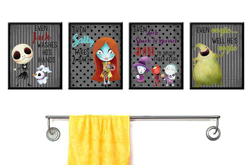 Silly Goose Gifts Even A Nightmare Will Brush Teeth Take A Bath Wash Hands Bathroom Character Wall Art Decor (Set of Four)