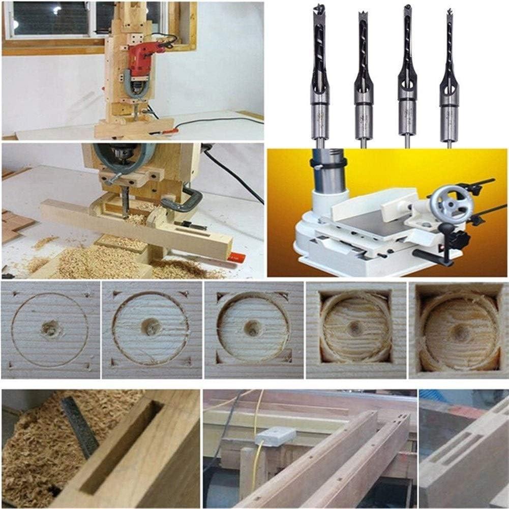 Square Hole Drill Bits, 4PCS Twist Drill Bits Square Hole Woodworking Drill Tools Kit Set Square Auger Mortising Chisel Drill Set Extended (Color : 4pcs Set) 4pcs Set