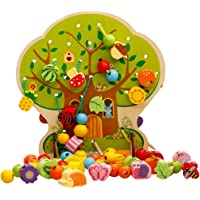 Homyl 102 Pieces Wooden Lacing Beads Animals Fruits Vegetables Shape Beads Set Threading Educational Toy with Tree Pattern Board