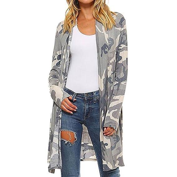 Mujer Boho Impresión Camuflaje Cubrir Abrigos, Vovotrade Suelto Chal Kimono Cárdigan Parte superior Cubrir Blusa