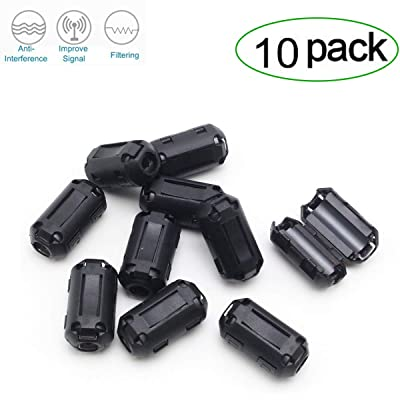 Topnisus [Pack of 10] Clip-on Ferrite Core Ring Bead Anti-Interference High-Frequency Filter RFI EMI Noise Suppressor Cable Clip (13mm Inner Diameter) [5Bkhe0103215]