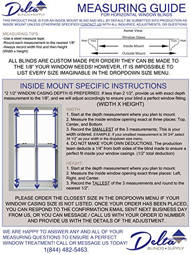 Delta Blinds Supply Custom-Made, Faux Wood Horizontal Window Blinds, 2 Inch Slats, Snow White, Inside Mount by Delta Blinds Supply (Image #2)