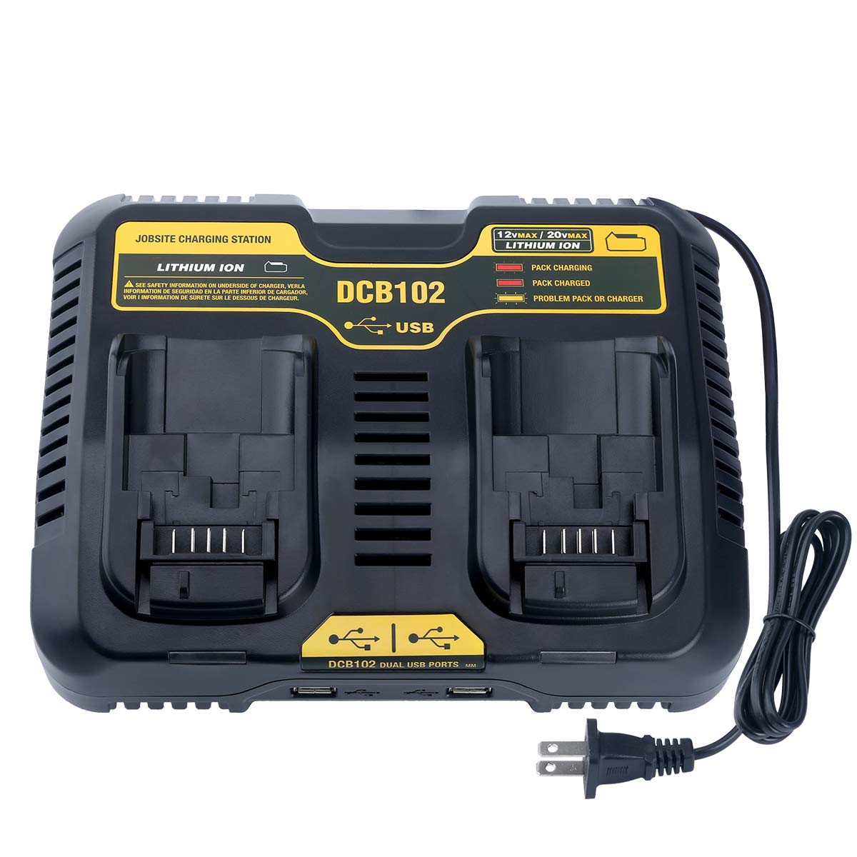 Lasica Replacement DCB102BP Charger for DEWALT 12-Volt MAX/20-Volt MAX Jobsite Charging Station DCB102 DCB102BP DCB104 DCB118 DCB115 DCB107 Dewalt ...