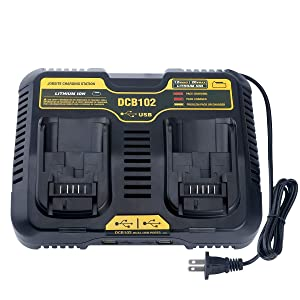 Lasica DCB102BP Replacement Charger for DEWALT 12-Volt MAX/20-Volt MAX Jobsite Charging Station DCB102 DCB102BP Dewalt Lithium Battery DCB205-2 DCB204-2 DCB127-2