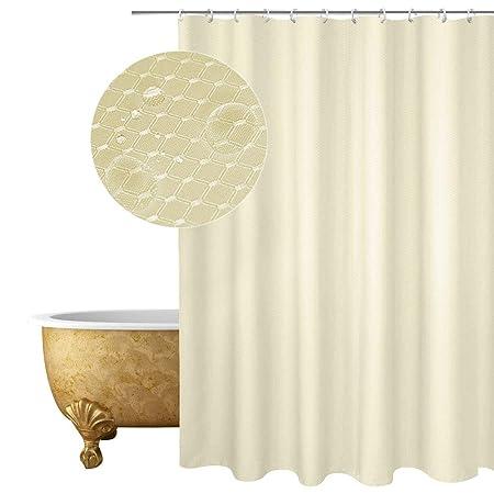 EurCross Shower Curtain Beige Plain Design Waffle Checked Polyester Bathroom Liner Mildew Resistant