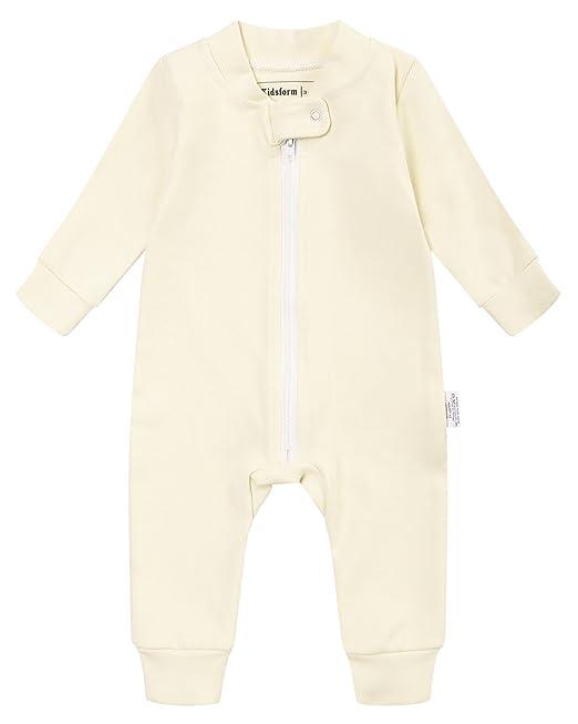 Kidsform Recién Nacido Bebés Algodón Mameluco Niñas Niños Pijama Peleles Sleep Sack Amarillo 3-6M