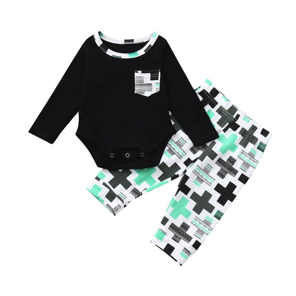 Ropa para bebés, Ropa para niños, (0-24M) Baby Long Sleeve Pocket Letter Plus Imprimir Top Clothes + Pants Conjunto de Dos Piezas