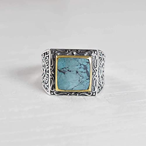 Tibetan Turquoise Natural Gemstone 925 Solid Sterling Silver Handmade Ring 10