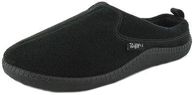 Mens Fleece Mule Slippers. - Black - UK SIZE 6