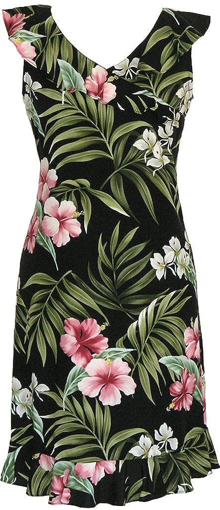 RJC Womens Breathtaking Island Getaway Short Hawaiian V-Neck Ruffle Dress Black S