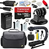 Action Handle Grip + 16GB MicroSD + Travel Case + Battery (2 Pack) + Charger + HDMI + Floating Handle + Mini Tripod + Dust Removal and Cleaning Kit for GoPro HERO4 Hero 4 Black Silver Camera Camcorder