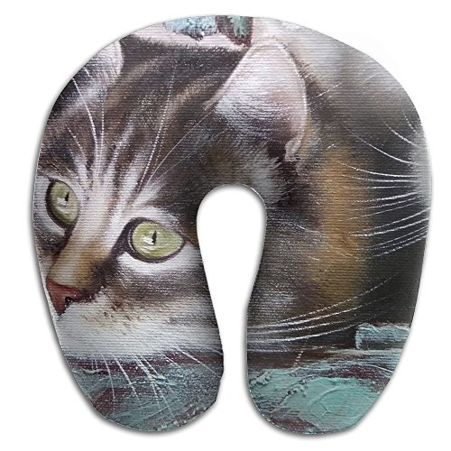 Hai Ni Memory Foam Neck Pillow Cushion Cats Paintings Comfy Soft U-Shape Cervical Pillow Head Support For Travel Office Home Sleeping