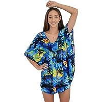 Island Style Clothing Ladies Kaftan Short Poncho Dress Sunset Beach Cover Floral Hawaiian