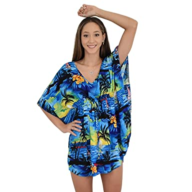 9150780914b82 Island Style Clothing Ladies Kaftan Short Poncho Sunset Beach Cover Floral  Hawaiian (Blue)