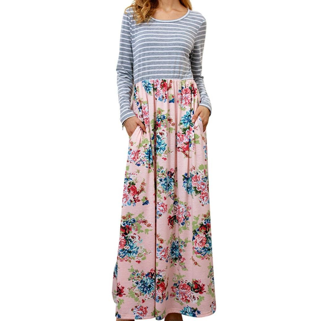 Rambling Women's Casual Striped Long Sleeve Floral Print Bohemian Tank Dresses Party Evening Long Maxi Dresses with Pockets