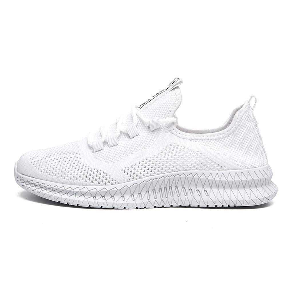 Breathable Running Shoes Men,Mosunx Athletic 【Mesh Woven Lightweight Sneaker】Flat Lace Up Fashion Gym Trail Walking Shoes (8.5 M US, White)
