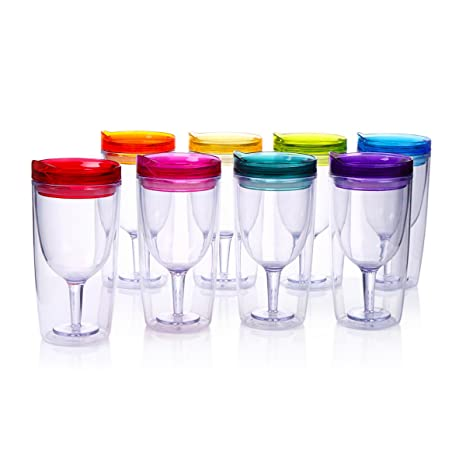 e94ea47be50 Amazon.com | Cupture Insulated Wine Tumbler Cup With Drink-Through Lid - 10  oz, 8 Pack: Tumblers & Water Glasses