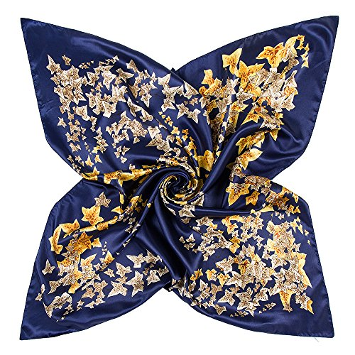 YOUR SMILE Yellow Flower Polyester Scarf Women's Fashion Pattern Large Square Satin Headscarf 35''x35'' (517) ()