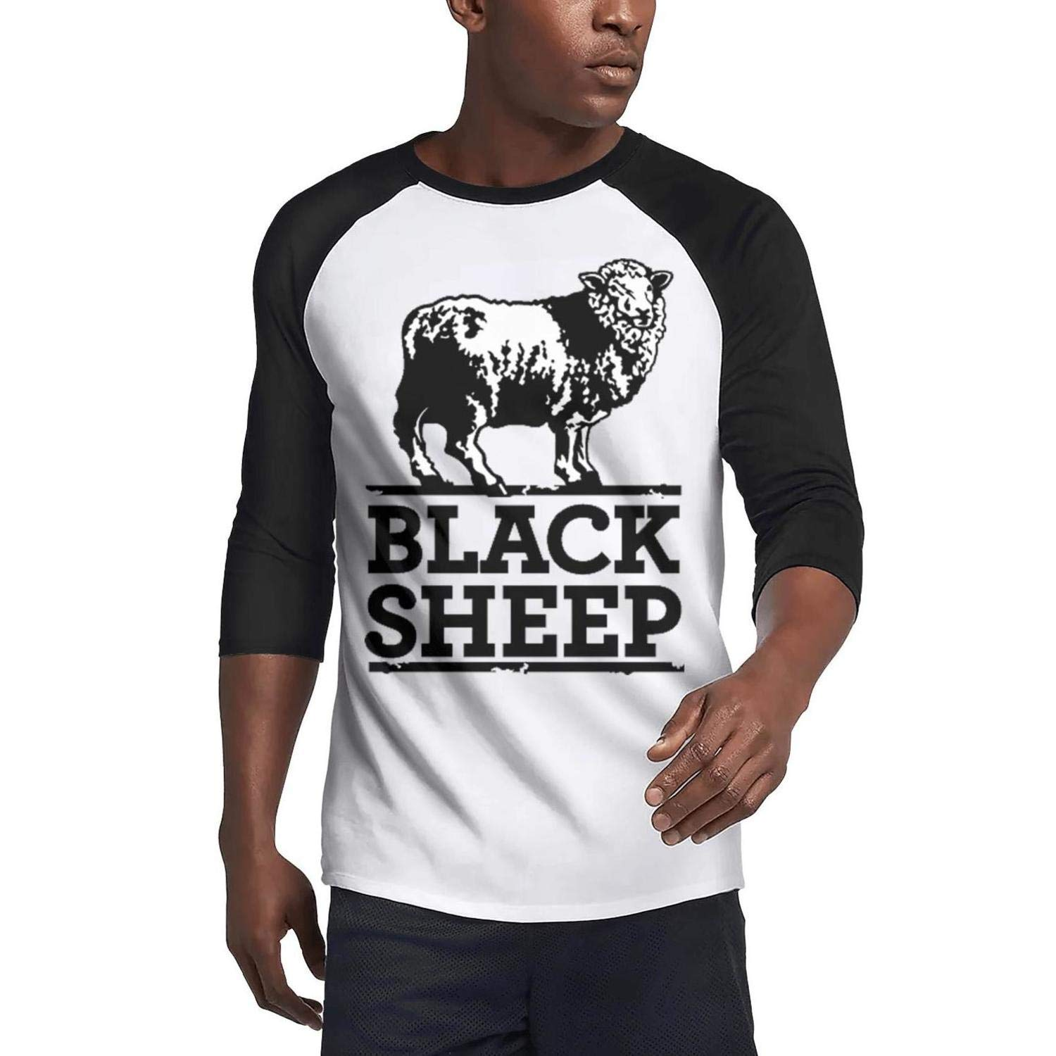 Mens t-Shirts The Drawing Sheep Washed 3//4 Sleeve Plain Raglan Original t Shirts