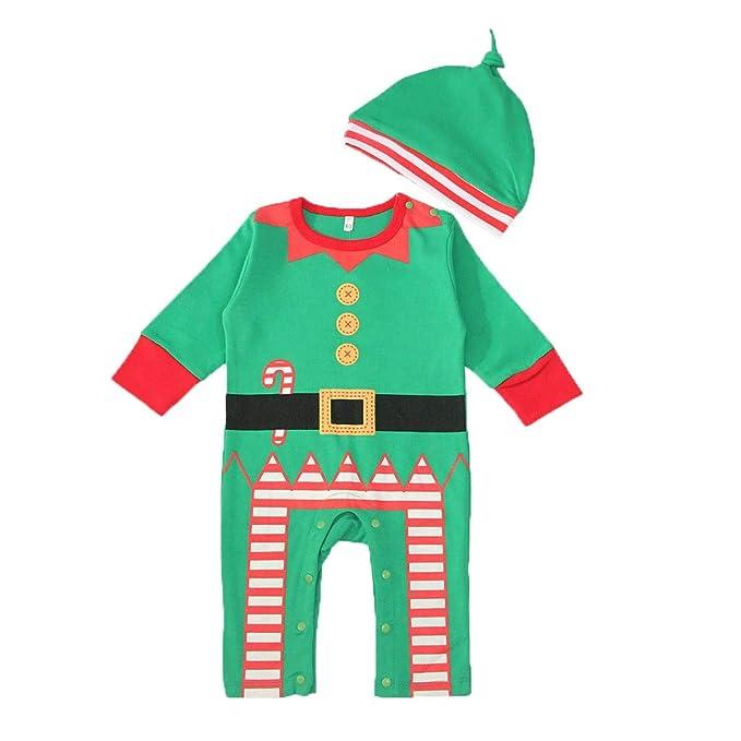 YWLINK Ropa De Bebe ReciéN Nacido Traje De Navidad Navidad Dibujos Animados Sombrero Gorro Mameluco Mono Mono Mezcla De AlgodóN Pijama Suave Y CóModo ...