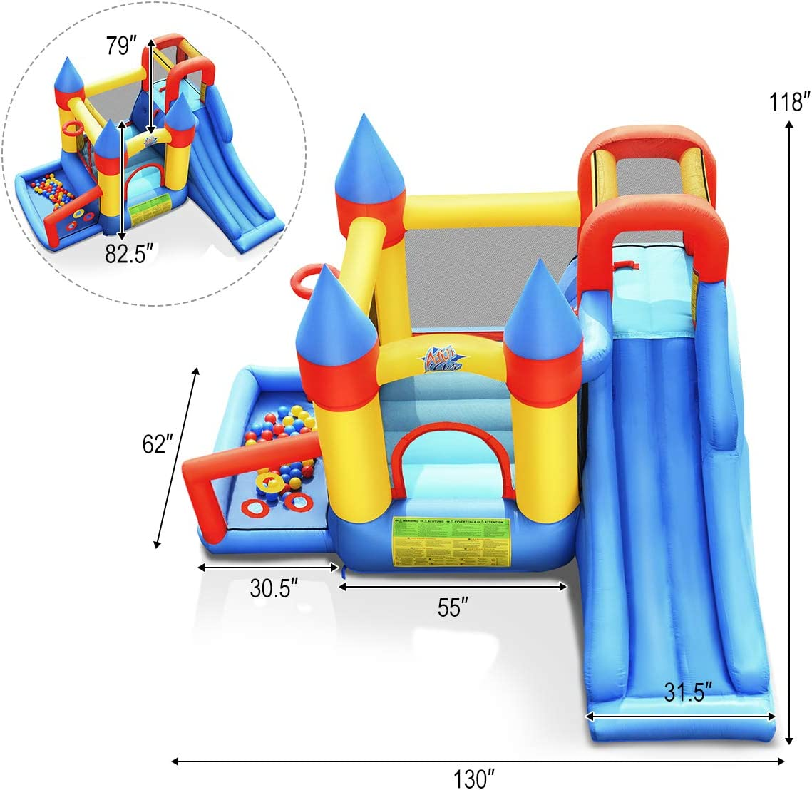 with 740W Air Blower HONEY JOY Inflatable Bounce House Repair Kit 50 Ocean Balls Stakes Kids Jumping Castle Bouncer w//Slides Includes Carry Bag Outdoor Indoor Party Play House w// Basketball Rim