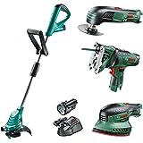 Bosch Cordless Bundle: Grass Trimmer, Jigsaw, Multi Tool and Sander (2 Batteries, 10.8 Volt)