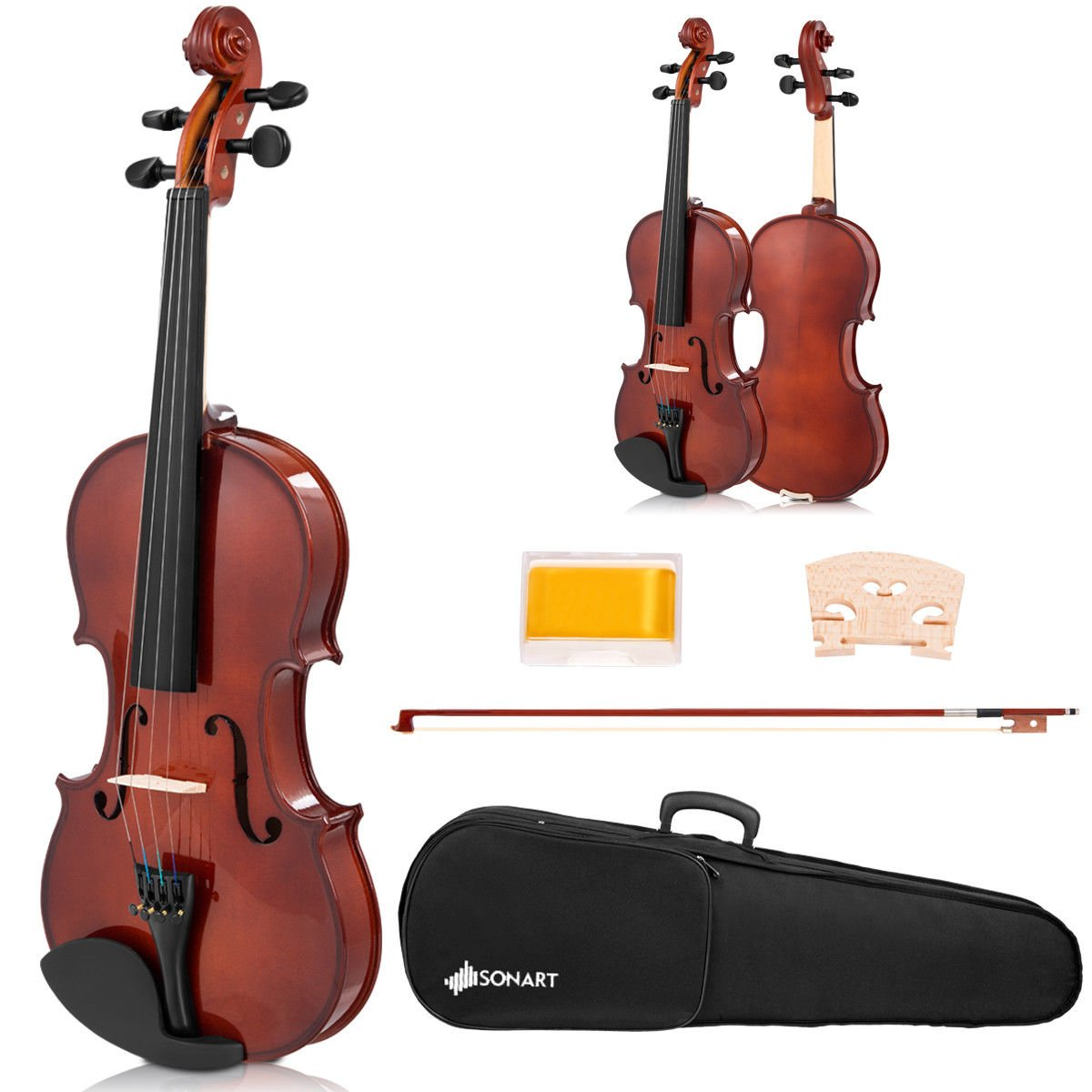 Sonart Full Size 4/4 Solid Wood Violin, Acoustic Starter Kit with Hard Case, Rosin, Bridge, Bow, Extra Strings, Violin Outfit Set for Beginners Students Costzon