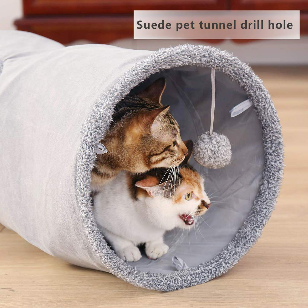 irene inevent Cat Tunnel Collapsible Pet Play Tunnel,Upgrad Version Pop-up Cat Play Tube Cat Play Tent with Plush Toy Ball and Peek Hole for Small Pets Rabbits,Kittens Puppy