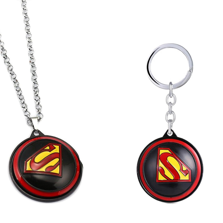 Fashion Jewelry ~ Large Superman Necklace and Keychain Set (Black)